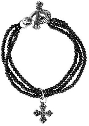 King Baby Three-Strand Black Spinel Bracelet with Pave Black Cubic-Zirconia MB Cross $280 thestylecure.com