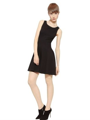 Faith Connexion Leather Trim Stretch Jersey Flared Dress