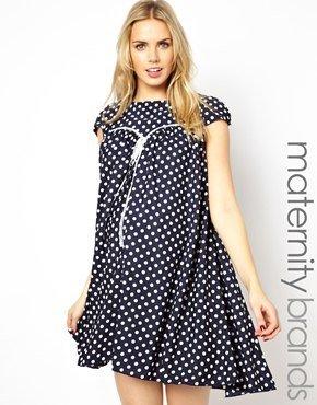 Lipstick Boutique Maternity Polka Dot Babydoll Dress - Spot