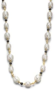 Majorica 12MM-16MM White Baroque & 6MM Champange Pearl Long Necklace