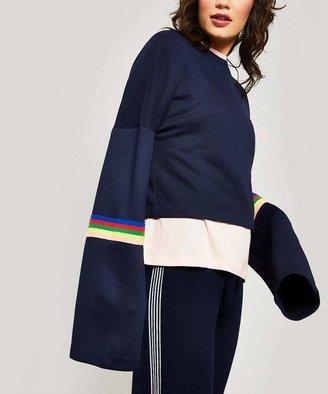 R & E re Cle Rainbow Ribbed Crop Sweatshirt