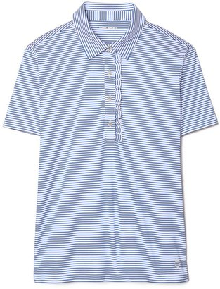 Tory Burch Performance Striped Ruffle Polo