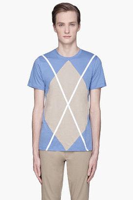 Kris Van Assche KRISVANASSCHE Light blue oversize argyle T-Shirt