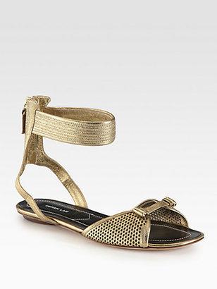 Derek Lam Hurley Metallic Leather Ankle Strap Sandals