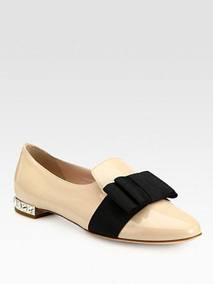 Miu Miu Patent Leather Bow & Rhinestone-Heel Smoking Slippers