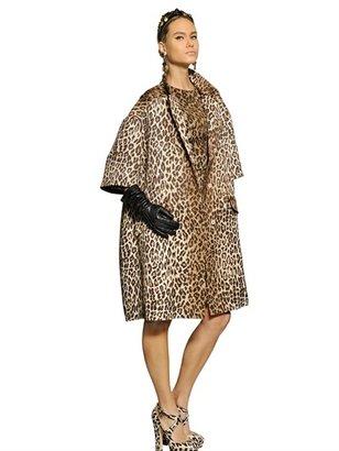 Dolce & Gabbana Printed Leopard Silk Wool Jacquard Coat