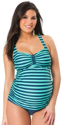 Oh Baby by motherhood striped tankini top and scoop bottom swim set - maternity