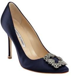 Manolo Blahnik Hangisi 105 Satin Pumps $965 thestylecure.com