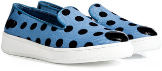 Hogan Katie Grand Loves Patent Leather/Canvas Polka Dot Slip-Ons
