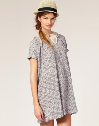 TBA Bow Neck Printed Floral Smock Dress