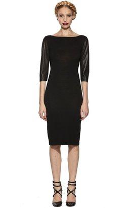 Alice + Olivia Arlo Leather Sleeve Dress