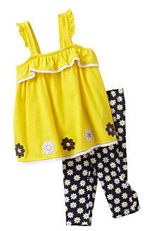 Kids Headquarters Baby Girls' Yellow/Navy 2-pc. Swing Top and Leggings Set