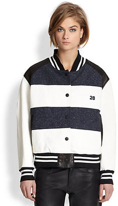 Jennifer Chun Striped Varsity Jacket