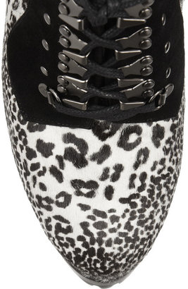 Alaia Animal-print calf hair and suede ankle boots
