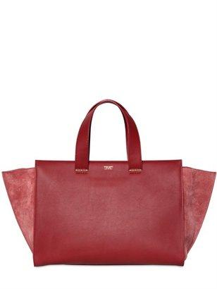 Giorgio Armani Medium Leather And Suede Top Handle