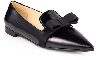 Prada Leather Point-Toe Bow Ballet Flats