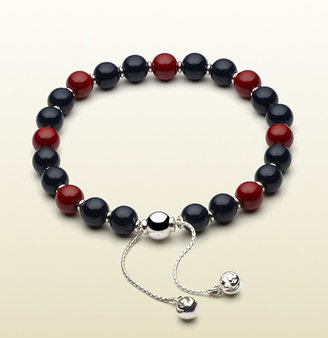 Gucci Bracelet With Blue And Red Wooden Beads