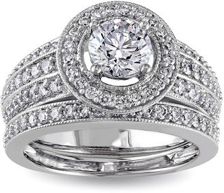 MODERN BRIDE 1 CT. T.W. Diamond 14K White Gold Bridal Ring Set $10,000 thestylecure.com