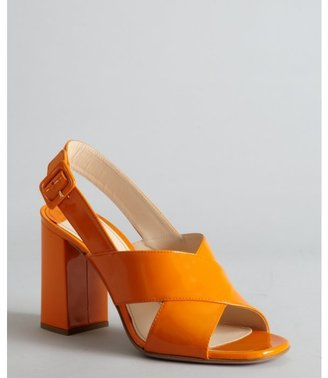 Prada orange patent leather crisscross slingback sandals