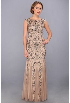 Adrianna Papell Cap Sleeve Beaded Gown (Buff) - Apparel
