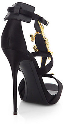 Giuseppe Zanotti Search Results, Alligator-Detail Satin Sandals