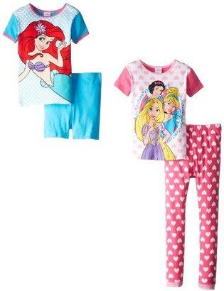 Disney Princess Little Girls' 4 Piece Cotton Pajama Set