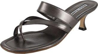 Manolo Blahnik Metallic Strappy Slide Sandal