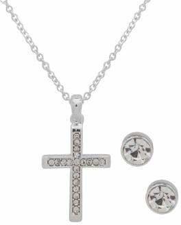 Nine West Boxed Crystal Cross Pendant Necklace Stud Earrings Set