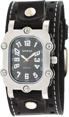 Nemesis #STH007K Men's Stainless Steel Signature Rectangular Leather Cuff Watch
