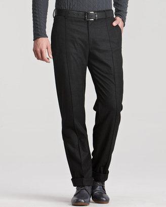Giorgio Armani Raised-Seam Trousers, Gray