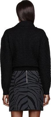 Carven Black Angora & Nylon Knit Tiger Stripe Weater