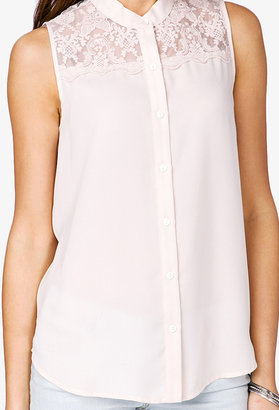 Forever 21 Embroidered Chiffon Shirt