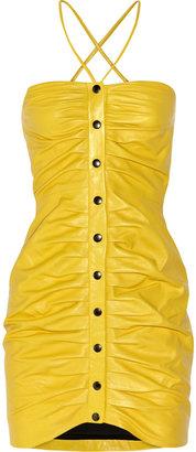 Paul & Joe Ruched leather mini dress
