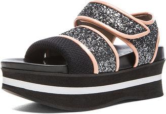 Marni Bonded Platform Sandals in Coal & Granite