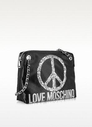 Moschino Black Satin Signature Shoulder Bag