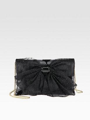 RED Valentino Mesh Bow Velvet-Flocked Leather Shoulder Bag