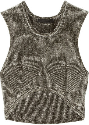 Alexander Wang Ribbed-knit chenille cropped top