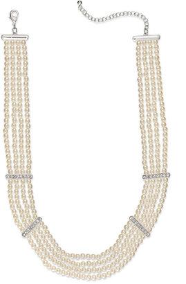 Charter Club Silver-Tone Imitation Kiska Pearl Four-Row Crystal Station Necklace