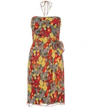 Anna Sui FLORAL PRINT SILK HALTER DRESS