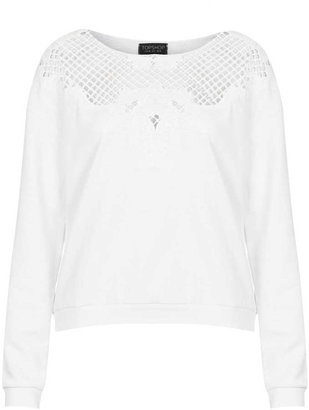 Topshop Embroidered Cutwork Sweat