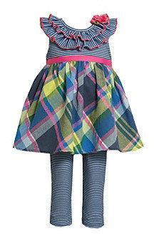 Bonnie Jean Baby Girls' Navy Plaid 2-pc. Leggings and Dress Set