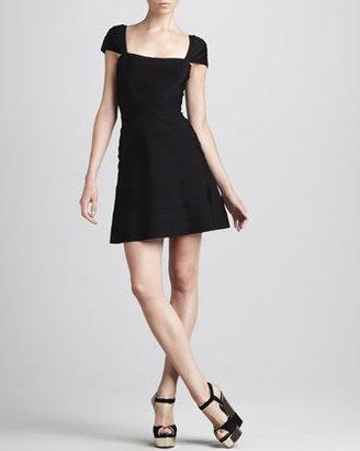 Herve Leger Cap-Sleeve A-Line Bandage Dress, Black