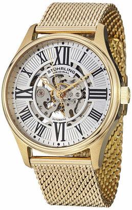 Stuhrling Original Sthrling Original Mens Gold-Tone Skeleton Automatic Mesh Watch