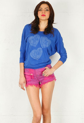Zoe Karssen You Me Oui Loose Fit Bat Wing Sleeve Tee in Dazzling Blue