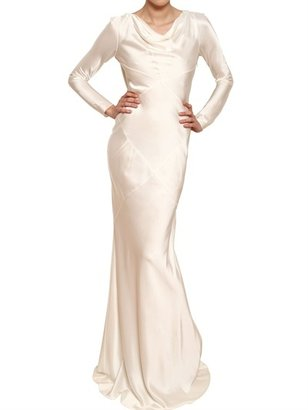 John Galliano Shiny Crepe Rayon Long Dress