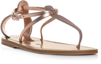 K. Jacques Suede and metallic leather sandals