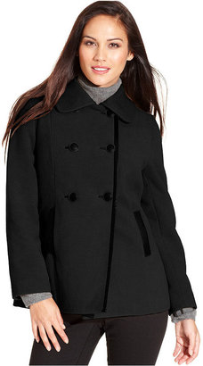 Style&Co. Coat, Double-Breasted Faux-Leather-Trim Pea Coat