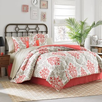 Bed Bath & Beyond Carina 6-8 Piece Complete Comforter Set in Coral