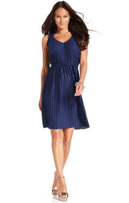 Spense Petite Dress, Sleeveless Pleated Belted A-Line