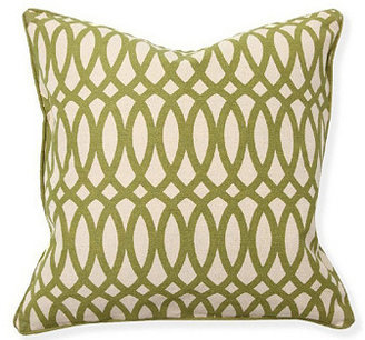 Geo 22x22 Cotton Pillow, Green